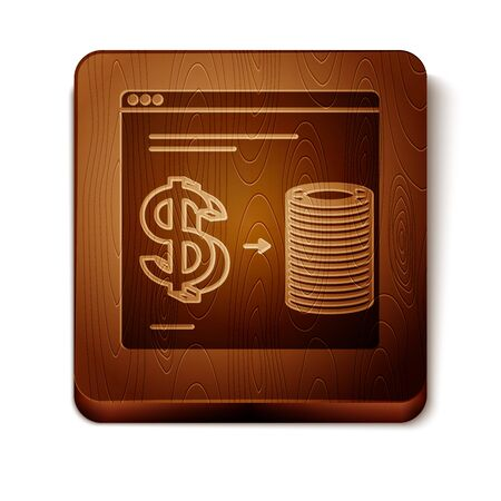 Brown Online casino chips exchange on stacks of dollars icon isolated on white background. Wooden square button. Vector Illustration 写真素材 - 129889023