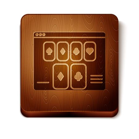 Brown Online poker table game icon isolated on white background. Online casino. Wooden square button. Vector Illustration