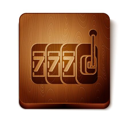 Brown Slot machine with lucky sevens jackpot icon isolated on white background. Wooden square button. Vector Illustration Фото со стока - 129889026