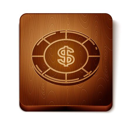 Brown Casino chip with dollar symbol icon isolated on white background. Casino gambling. Wooden square button. Vector Illustration 写真素材 - 129889027