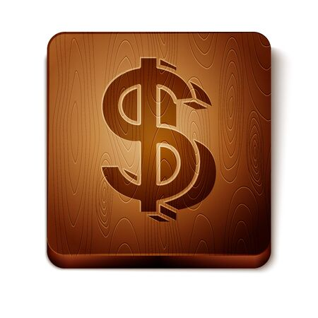 Brown Dollar symbol icon isolated on white background. Cash and money, wealth, payment symbol. Casino gambling. Wooden square button. Vector Illustration Иллюстрация