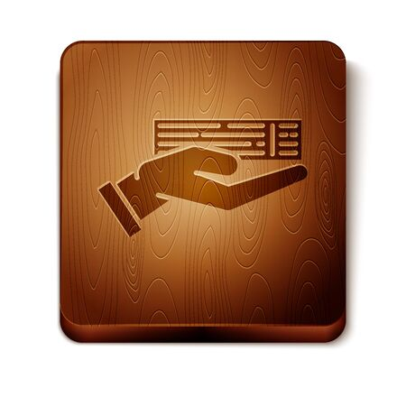 Brown Hand holding deck of playing cards icon isolated on white background. Casino gambling. Wooden square button. Vector Illustration 写真素材 - 129889029