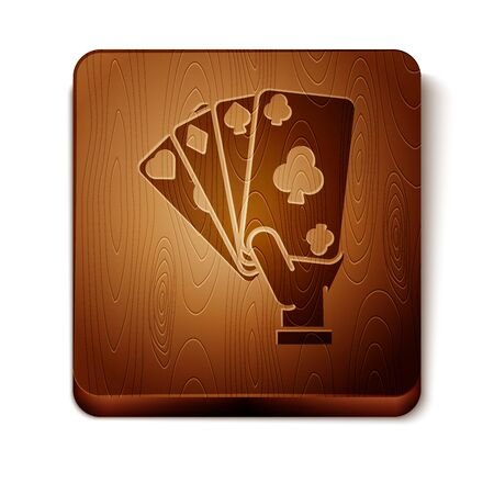 Brown Hand holding playing cards icon isolated on white background. Casino game design. Wooden square button. Vector Illustration Иллюстрация