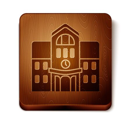 Brown School building icon isolated on white background. Wooden square button. Vector Illustration Illustration