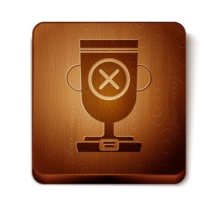 Brown Award cup icon isolated on white background. Winner trophy symbol. Championship or competition trophy. Sports achievement sign. Wooden square button. Vector Illustration