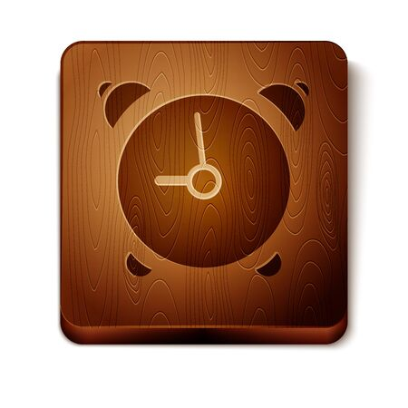 Brown Alarm clock icon isolated on white background. Wake up, get up concept. Time sign. Wooden square button. Vector Illustration 向量圖像