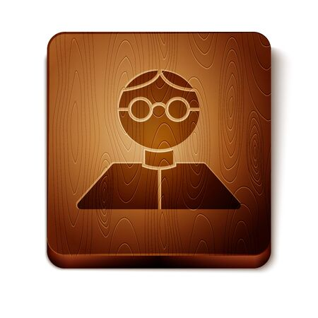 Brown Student icon isolated on white background. Wooden square button. Vector Illustration Illustration