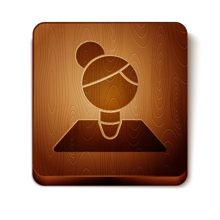 Brown Teacher icon isolated on white background. Wooden square button. Vector Illustration Ilustrace
