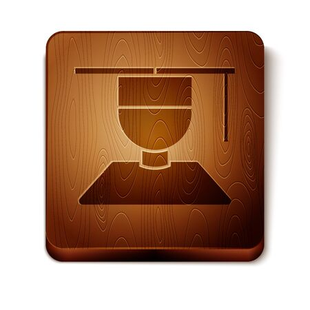 Brown Graduate and graduation cap icon isolated on white background. Wooden square button. Vector Illustration