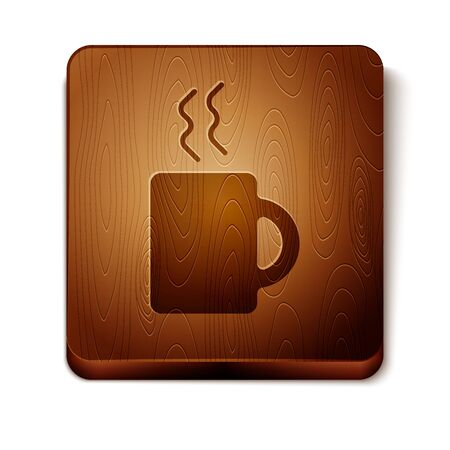 Brown Coffee cup icon isolated on white background. Tea cup. Hot drink coffee. Wooden square button. Vector Illustration
