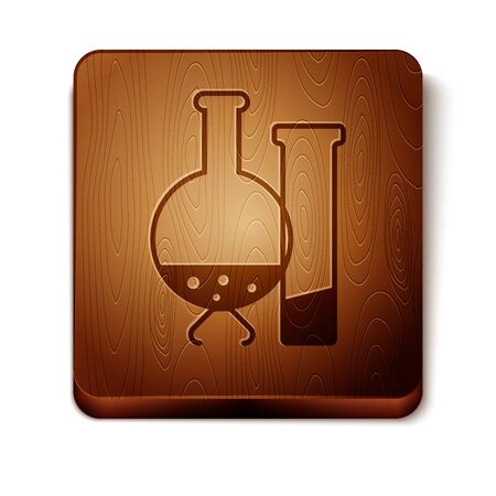 Brown Test tube and flask - chemical laboratory test icon isolated on white background. Laboratory glassware sign. Wooden square button. Vector Illustration