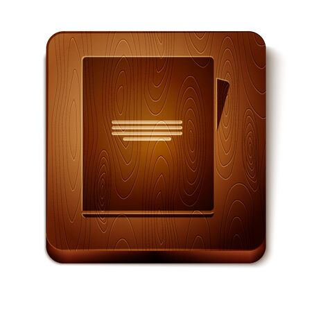 Brown Notebook icon isolated on white background. Spiral notepad icon. School notebook. Writing pad. Diary for school. Wooden square button. Vector Illustration  イラスト・ベクター素材