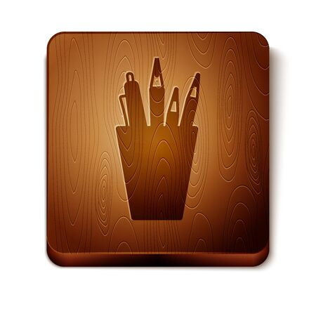 Brown Pencil case stationery icon isolated on white background. Pencil, pen, ruler in a glass for office. Wooden square button. Vector Illustration