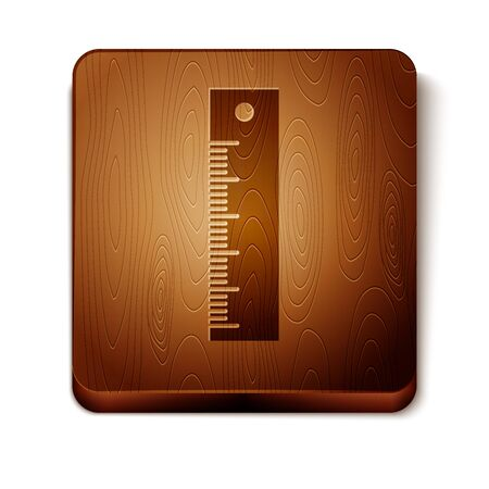 Brown Ruler icon isolated on white background. Straightedge symbol. Wooden square button. Vector Illustration
