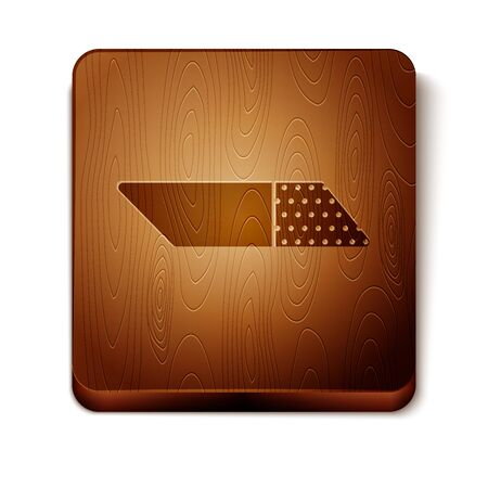 Brown Eraser or rubber icon isolated on white background. Wooden square button. Vector Illustration