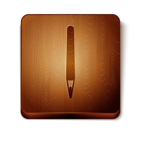 Brown Pen icon isolated on white background. Wooden square button. Vector Illustration  イラスト・ベクター素材