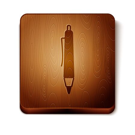 Brown Pen icon isolated on white background. Wooden square button. Vector Illustration Illustration
