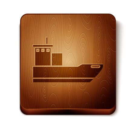 Brown Cargo ship icon isolated on white background. Wooden square button. Vector Illustration