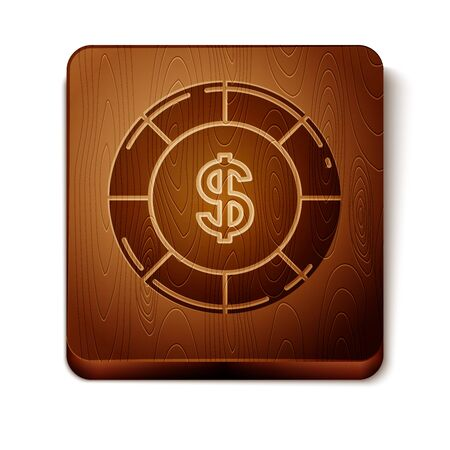 Brown Casino chip with dollar symbol icon isolated on white background. Casino gambling. Wooden square button. Vector Illustration