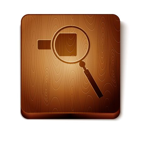 Brown Magnifying glass icon isolated on white background. Search, focus, zoom, business symbol. Wooden square button. Vector Illustration