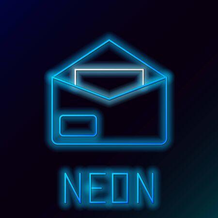 Blue glowing neon line Envelope icon on black background. Email message letter symbol. Colorful outline concept. Vector Illustration Ilustração