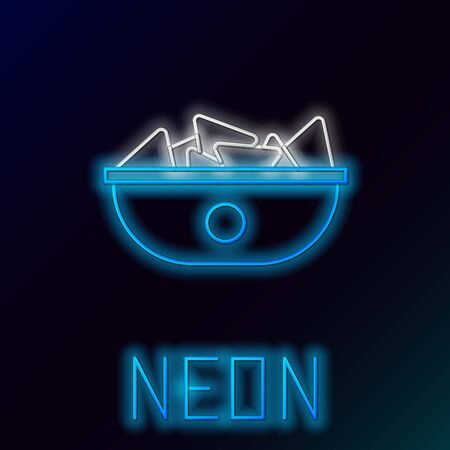 Blue glowing neon line Nachos in plate icon isolated on black background. Tortilla chips or nachos tortillas. Traditional mexican fast food menu. Colorful outline concept. Vector Illustration