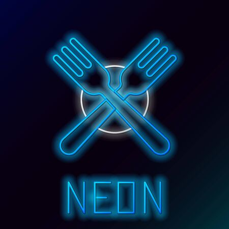 Blue glowing neon line Crossed fork icon isolated on black background. Cutlery symbol. Colorful outline concept. Vector Illustration