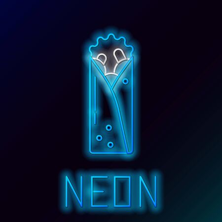 Blue glowing neon line Doner kebab icon isolated on black background. Shawarma sign. Street fast food menu. Colorful outline concept. Vector Illustration