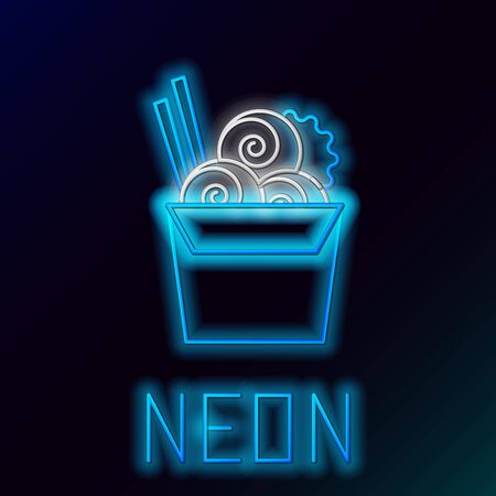 Blue glowing neon line Asian noodles in paper box and chopsticks icon isolated on black background. Street fast food menu. Korean, Japanese, Chinese food. Colorful outline concept. Vector Illustration  イラスト・ベクター素材