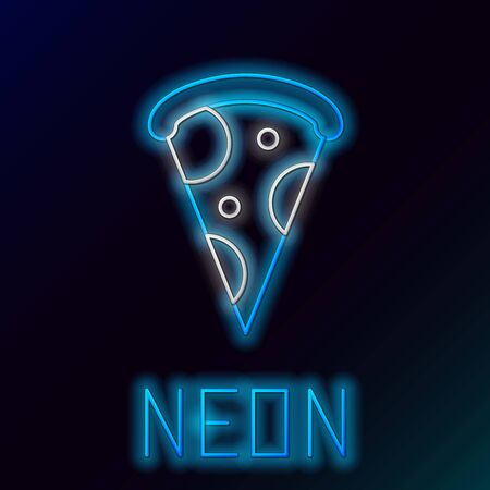 Blue glowing neon line Slice of pizza icon isolated on black background. Fast food menu. Colorful outline concept. Vector Illustration