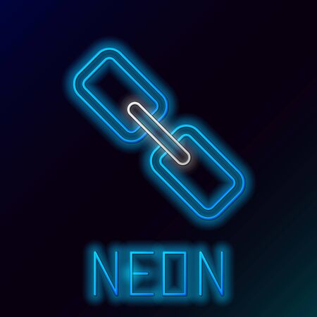 Blue glowing neon line Chain link icon isolated on black background. Link single. Hyperlink chain symbol. Colorful outline concept. Vector Illustration Ilustração