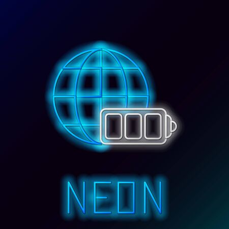 Blue glowing neon line Battery charge level indicator with earth globe icon isolated on black background. World or Earth sign. Colorful outline concept. Vector Illustration Ilustração