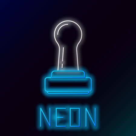 Blue glowing neon line Stamp icon isolated on black background. Colorful outline concept. Vector Illustration Ilustração
