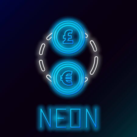 Blue glowing neon line Money exchange icon on black background. Euro and Pound Sterling cash transfer symbol. Banking currency sign. Colorful outline concept. Vector Illustration  イラスト・ベクター素材