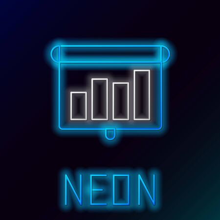 Blue glowing neon line Presentation financial business board with graph, schedule, chart, diagram, infographic, pie graph icon on black background. Colorful outline concept. Vector Illustration