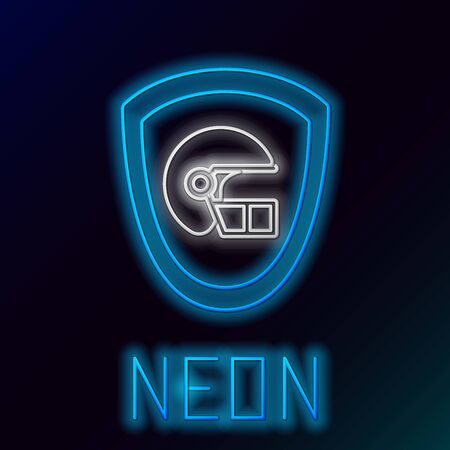Blue glowing neon line American football helmet and shield icon isolated on black background. Colorful outline concept. Vector Illustration