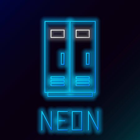 Blue glowing neon line Locker or changing room for football, basketball team or workers icon isolated on black background. Colorful outline concept. Vector Illustration