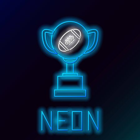 Blue glowing neon line Award cup and American football ball icon isolated on black background. Winner trophy symbol. Championship or competition trophy. Colorful outline concept. Vector Illustration Иллюстрация