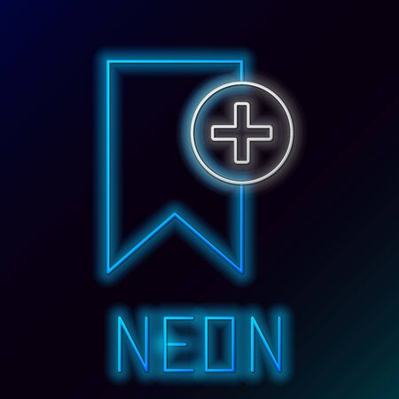 Blue glowing neon line Bookmark icon isolated on black background. Add to concept. Colorful outline concept. Vector Illustration