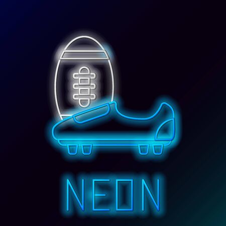 Blue glowing neon line Soccer or football shoes with spikes icon isolated on black background. American football boot and ball. Colorful outline concept. Vector Illustration Иллюстрация