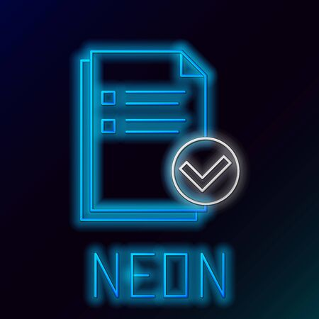 Blue glowing neon line Document and check mark icon isolated on black background. Checklist icon. Business concept. Colorful outline concept. Vector Illustration