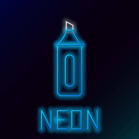Blue glowing neon line Marker pen icon isolated on black background. Colorful outline concept. Vector Illustration  イラスト・ベクター素材