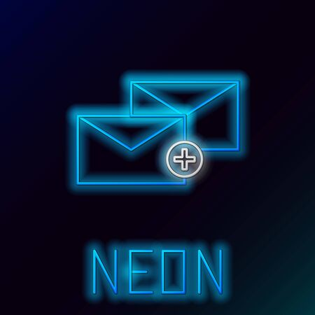 Blue glowing neon line Envelope icon isolated on black background. Received message concept. New, email incoming message, sms. Mail delivery service. Colorful outline concept. Vector Illustration