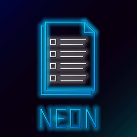 Blue glowing neon line File document icon isolated on black background. Checklist icon. Business concept. Colorful outline concept. Vector Illustration Stockfoto - 129895329