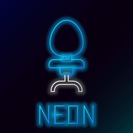 Blue glowing neon line Office chair icon isolated on black background. Colorful outline concept. Vector Illustration Иллюстрация