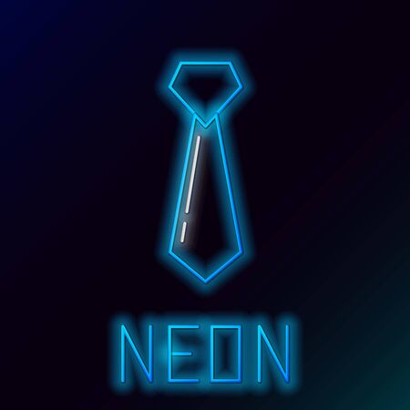 Blue glowing neon line Tie icon isolated on black background. Necktie and neckcloth symbol. Colorful outline concept. Vector Illustration