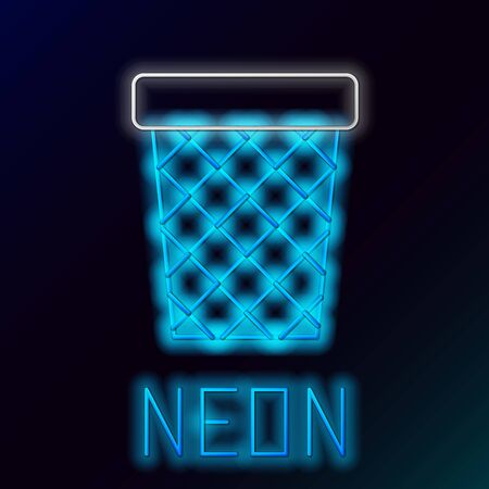Blue glowing neon line Trash can icon isolated on black background. Garbage bin sign. Recycle basket icon. Office trash icon. Colorful outline concept. Vector Illustration