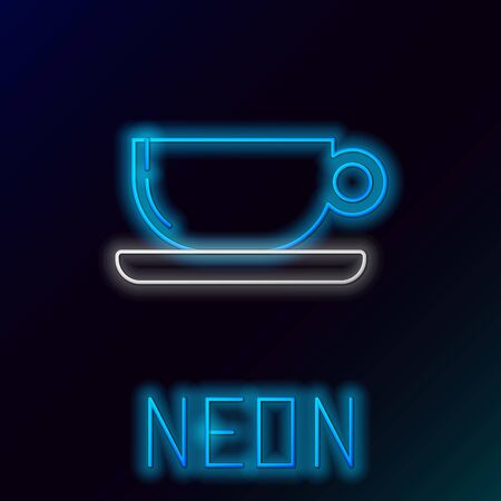 Blue glowing neon line Coffee cup flat icon isolated on black background. Tea cup. Hot drink coffee. Colorful outline concept. Vector Illustration