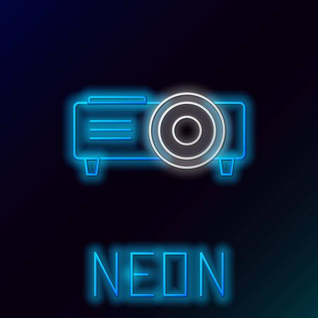 Blue glowing neon line Presentation, movie, film, media projector icon isolated on black background. Colorful outline concept. Vector Illustration  イラスト・ベクター素材