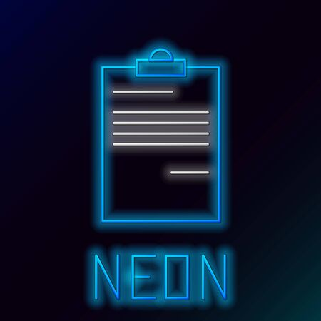 Blue glowing neon line Document icon isolated on black background. File icon. Checklist icon. Business concept. Colorful outline concept. Vector Illustration Stockfoto - 129898139